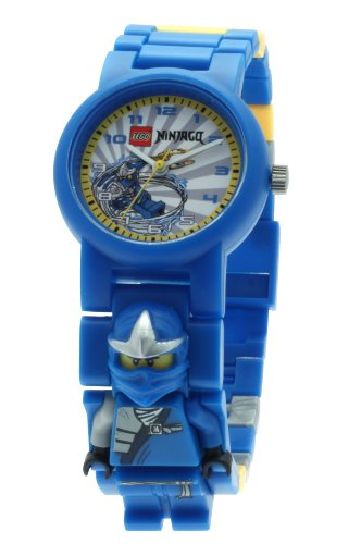 LEGO Ninjago Jay ZX Minifigure Children's Quartz Watch with Grey Dial Analogue Display and Multicolour Plastic Link Strap 9006845