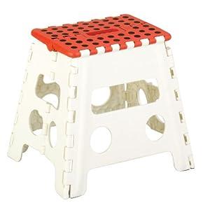 zeller 99162 tabouret pliant en plastique rouge blanc 37. Black Bedroom Furniture Sets. Home Design Ideas