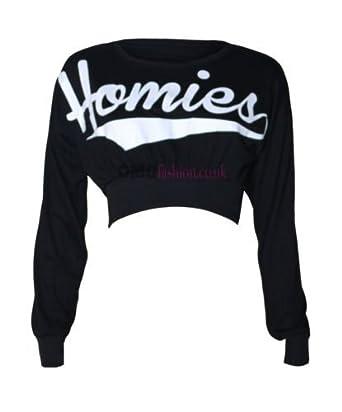 Womens Long Sleeved Homies Crop Top (Mtc) (4/6 (uk 8/10), Black)