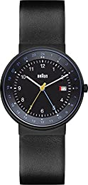 Braun Men's Quartz Watch with Black Dial Analogue Display and Black Leather Strap BN0142BKBKG