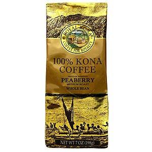 Royal Kona Peaberry 100% Kona Coffee 7Oz (6 Bags, Whole Bean)