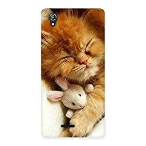 Gorgeous Sleeping Cat with Bunny Multicolor Back Case Cover for Lava Iris 800
