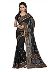 Designersareez Women Black Faux Georgette Saree With Unstitched Blouse (1670)