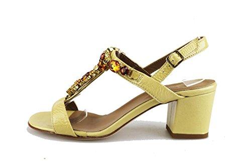 MICHEL BATIC sandali donna beige vernice AG460 (39 EU)