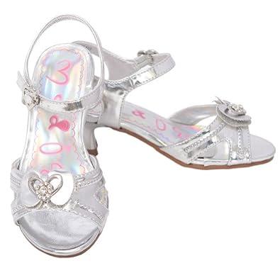 Amazon.com: Toddler Girls Silver Sparkle Heart Bow Kitten