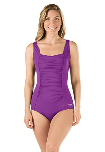 Speedo 7234015 Womens Shirred Tank – Speedo Endurance+, Vivid Violet – 14