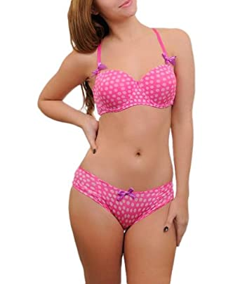 G2 Chic Women's Pink Polka Dot Bra and Panty Set with Purple Bow