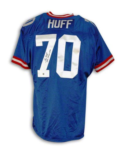 Sam Huff New York Giants Autographed Blue Throwback Jersey Inscribed