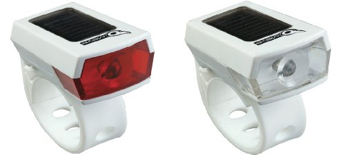 Owleye Twinpack Solar Powered LI-ion Rechargeable LED Headlight & Taillight Set White. BE SAFE - BE SEEN !!