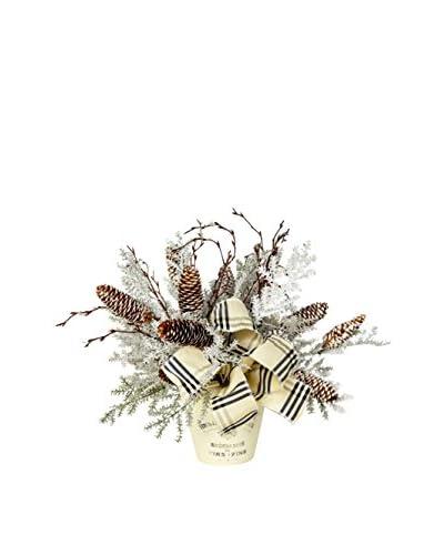 Creative Displays Winter Forest Planter Pot, Crème/Brown/Black