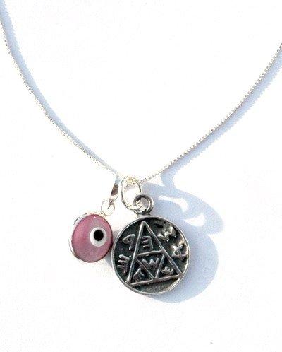 Evil Eye & Pregnancy Solomon Seal Silver Necklace