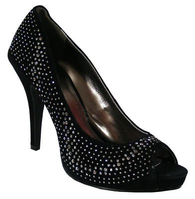 Ladies Stunning Black Diamante Peeptoe Party Heels Womens Wedding Shoes Size 3-8