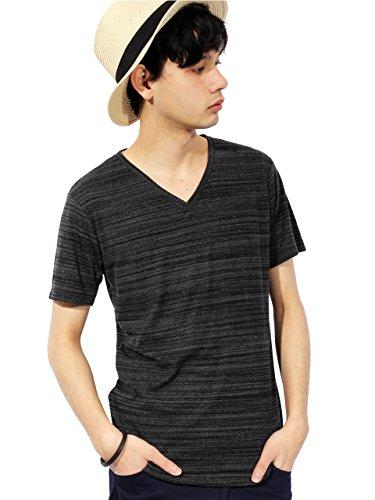 (エイト) 8(eight) 5color 霜降り ボーダー Vネック Tシャツ 半袖 無地 ブラック M