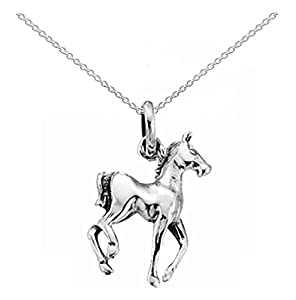 """Childrens 925 Sterling Silver Horse Pendant with 14"""" Silver Chain Necklace- Gift Boxed"""