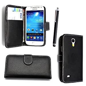FOR SAMSUNG GALAXY S4 MINI I9190 PU LEATHER MAGNETIC FLIP CASE COVER POUCH + SCREEN PROTECTOR +STYLUS (Black Book)