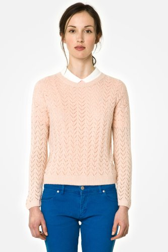 L!VE Long Sleeve Pointelle Knit Crewneck Sweater