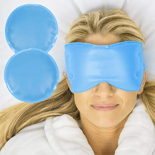 Arctic Flex Cold Eye Mask - Gel Ice Pack for Cool Sleeping, Dry Night Treatment - Reusable Hot Spa Therapy for Sleep, Skin Puffiness, Migraine, Soothing Headache - Soft Cooling Heating Compress Cover