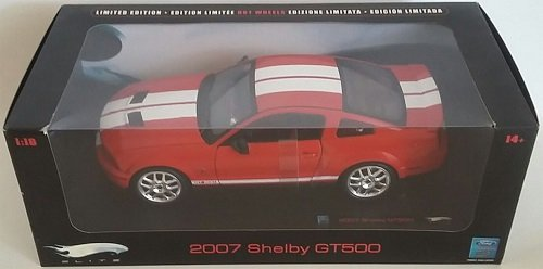SHELBY GT500 Hot Wheels Elite Red 2007 Shelby Mustang GT 500 Limited Edition 1:18 Scale Collectible Die Cast Metal Toy Car Model