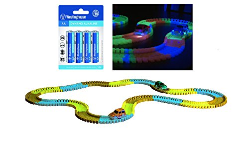 246 Piece Glow in the Dark Bend-a-Path Safari Adventure Playset for Kids, 2 Light up SUV - 12 Ft Track , & 1 - 4 Pack AA Batteries, Unisex Toys for Age 3 & Up (Fast Power Wheels For Boys 5 Up compare prices)