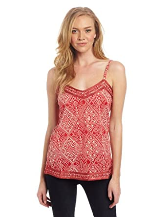 Lucky Brand Women's John Robshaw Embroidered Tank, Chili Multi, X-Small
