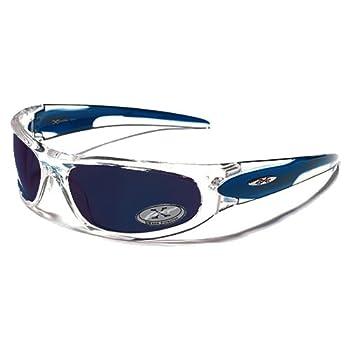 X-Loop Lunettes de Soleil - Sport - Cyclisme - Ski - Conduite - Moto - Plage / Mod. 1200 Bleu Cristal Transparent / Taille Unique Adulte / Protection 100% UV400