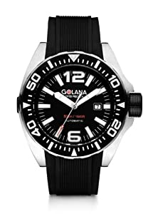 Golana Advanced Aqua Men's Automatic Watch with Black Dial Analogue Display and Black Rubber Strap ADQ100-1