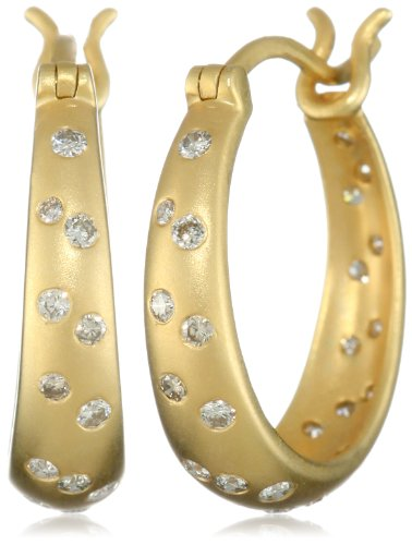 Lauren Harper Collection Milky Way 18k Gold and Faceted Diamond Hoop Earrings