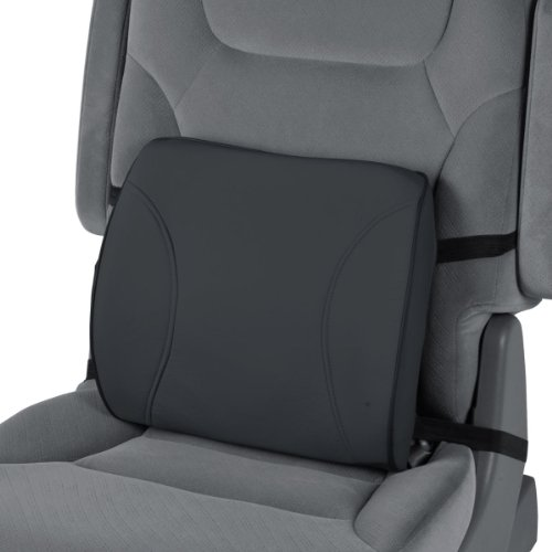 Motortrend Lumbar Back Support - Portable Orthopedic Lumbar Back Support Memory Foam & Pu Leather Seat Cushion. This Lumbar Support Helps Promote Good Posture While Sitting. (Bdk Black) front-243649