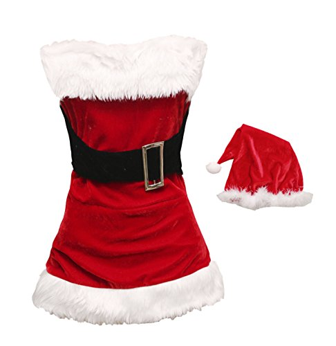 Bslingerie Christmas Santa Girl Sleeveless Costume with Socks