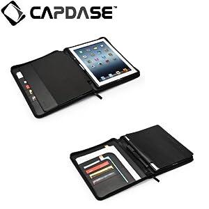 CAPDASE 日本正規品 iPad Retinaディスプレイモデル (第4世代) / iPad (第3世代) / iPad 2 対応 Folder Case Zip Lapa, Black (スタンド機能・収納ポケット ドックコネクタ &イヤホンジャック キャップつき) システム手帳スタイル PUレザー フォルダーケース 「ジップ・ラパ」 ブラック FCAPIPAD3-LP01