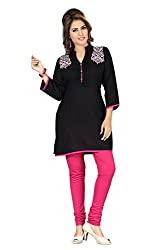 Dragaon-Black and Pink Chic Brilliance Embroidered Designer Tunic