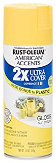 Rust Oleum 280699 American Accents Ultra Cover 2X Spray Paint,  Gloss Sun Yellow, 12-Ounce