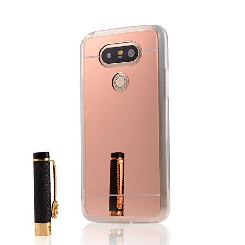 Custodia a specchio Gel silicone TPU sottile cassa per LG G5, Case Cover protettiva in rosa + 3 pellicola protettiva e Stylus pen