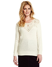Indigo Collection Floral Lace Jumper with Angora