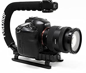ForeGrip Professional Camera, Camcorder and Action Cam Stabilizing Handle with Universal Hot Shoe for Flash, Mic, LED or Video Light