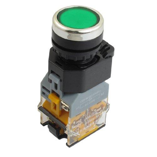 Ac 380V 10A 1No 1Nc 220Vdc Led Light Dpst Green Self-Locking Push Button Switch
