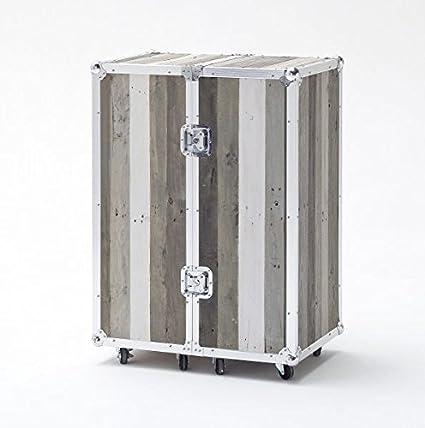 Barschrank, Kommode, Bar, Flaschenregal, grau, recycle-Holz massiv, shabby shic