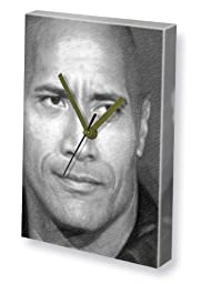 DWAYNE JOHNSON - Canvas Clock (LARGE A3 - Signed by the Artist) #js001