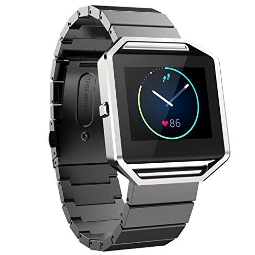 kingko® Smart Watch Edelstahl Klassische Schnalle Armband Bügel Uhrenarmband für Fitbit Blaze Tracker