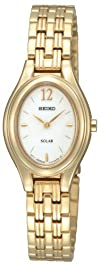 Seiko Womens SUP008 Gold Plated Solar Silver Oval Dial Watch