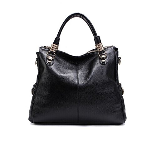 New Fashion High Quality Top Layer Leather Shoulder Handbag 020951 (Black)