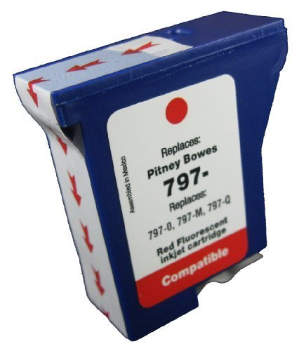 Brand new 797-0 797-M 797-Q Postage Meter red fluorescent ink for use in Pitney Bowes MailStation, K700, K7M0, MailStation 2 machines. (Pitney Bowes Postage Machine Ink compare prices)