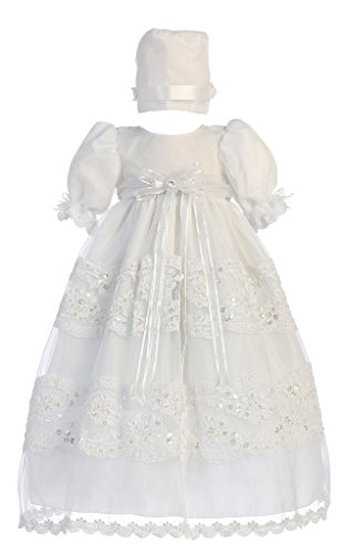 Baby Girl Organza Christening Dress with Lace Trims and Bonnet -S