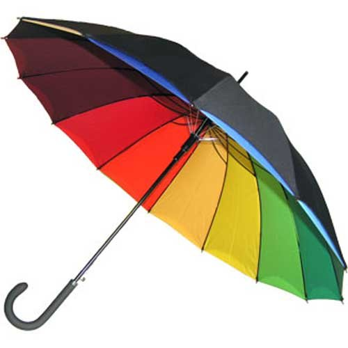 Double Canopy Rainbow Automatic Unisex Umbrella - Black/Bright colours