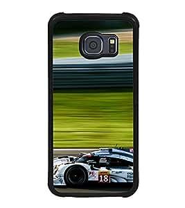 Fuson Premium 2D Back Case Cover Race car With Black Background Degined For Samsung Galaxy S6 Edge::Samsung Galaxy Edge G925