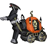 Halloween Decorations 6' Tall Airblown Halloween Inflatable Reaper Carriage with Horse