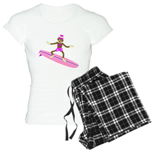 CafePress Sock Monkey Surfer Girl Women's Light Pajamas Women's Light Pajamas