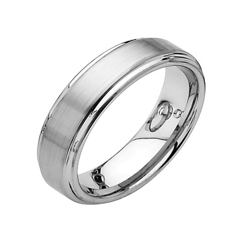 6mm Rounded Edge Tungsten Wedding Band Ring for Men - Size 8.5