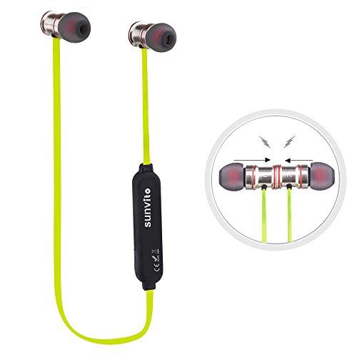 Sunvito Deporte V4.1 de Bluetooth Auricular, Ligero Nuca Sudor Auriculares Estéreo Inalámbricos con Mic para Llamadas de Manos Libres y Magnética Atracción para iPhnoe, Samsung, Android Verde