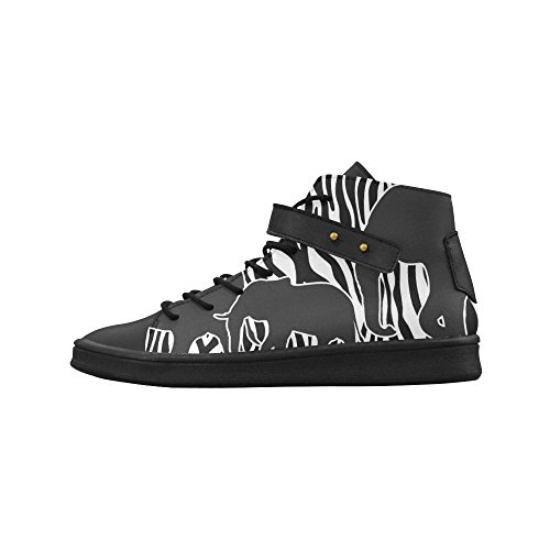 Round Toe Womens High Top Shoes ELEPHANTS ZEBRA arts Womens Sneakers (Zebra High Tops compare prices)